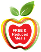 Clip art of a red apple with green stem apple the middle of the apple reads Free and Reduced Meals