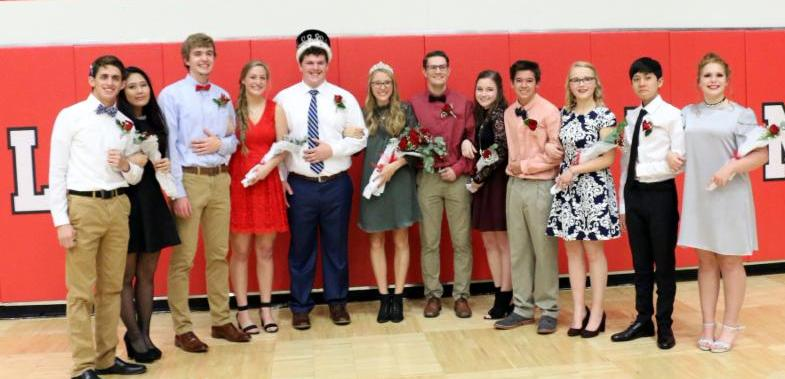 Court (L to R) – Seniors Brooks Neria and Joanne Kim, Seniors Chris Bennish and Kate Dreiling, Knight – Senior Zeke Wall, Queen-Senior Madison Beecher, Juniors Andrew Doyle and Amanda Taulman, Sophomores Abbey Goebel and Noah Carpenter, and Freshmen Samuel