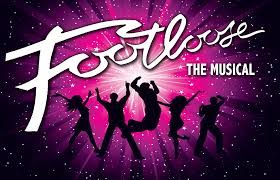 Graphic that is pink, purple, and black with silhouettes of teens jumping and the text reads, Footloose the musical
