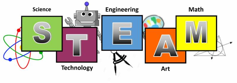 A colorful illustration reads S-Science, T-Technology, E-Engineering, A-Art, and M- Math.