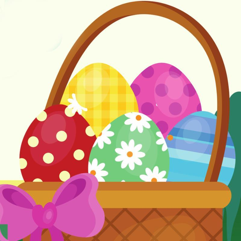 Clip art of a decorated easter eggs in a basket with a pink bow