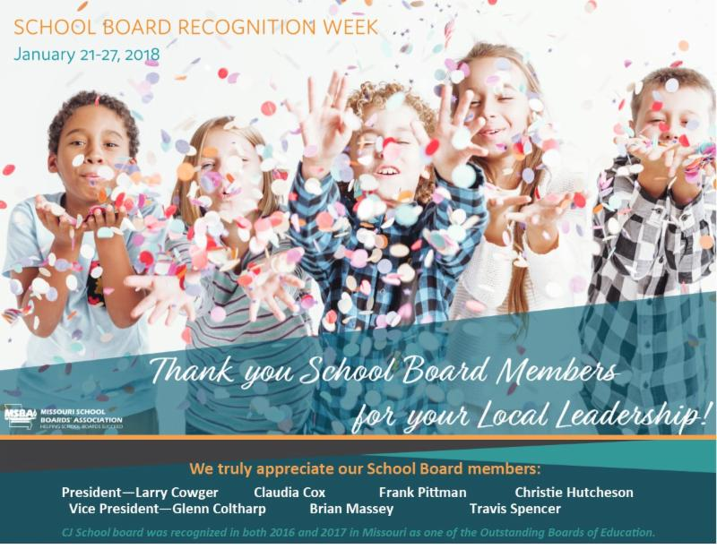 Children throw confetti. Text-School Board Recognition Week Jan 21-27. Thank you School Board Members. We truly appreciate you:Pres Larry Cowger, Claudia Cox, Frank Pittman, Christie Hutcheson, VP Glenn Coltharp, Brian Massey, Travis Spencer