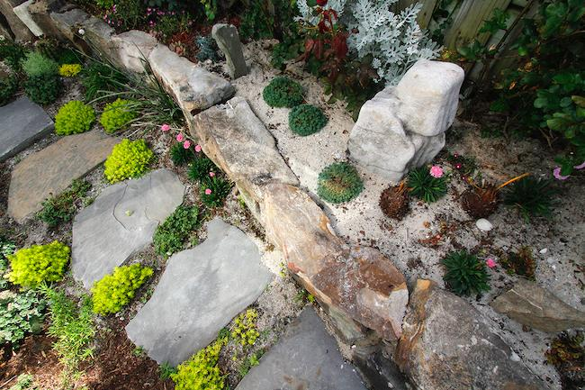 Pathway-Boulder Wall-Boulder Art-Succulents-Sand