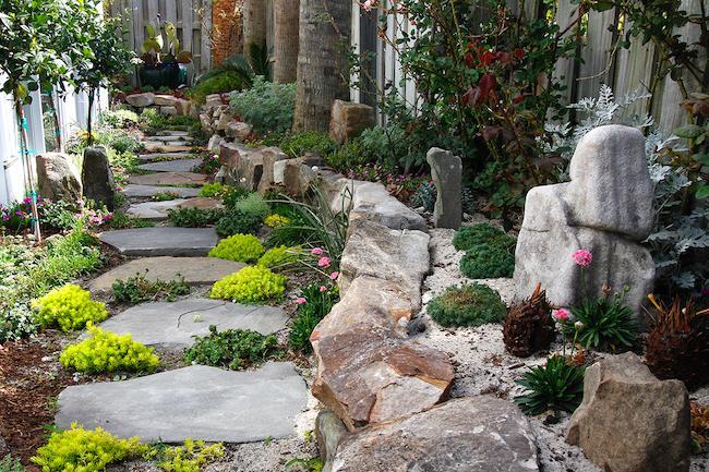 Pathway-Boulder Wall-Boulder Art-Succulents