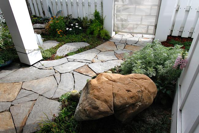 Pathway-Tight Joints-Boulder Art-White Picket Fence and Gate-Florals
