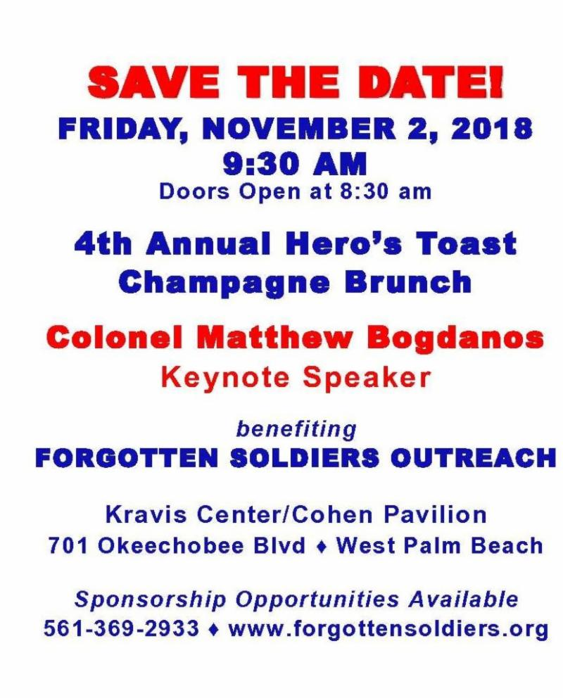 SAVE THE DATE 4TH ANNUAL HERO'S TOAST CHAMPAGNE BRUNCH
