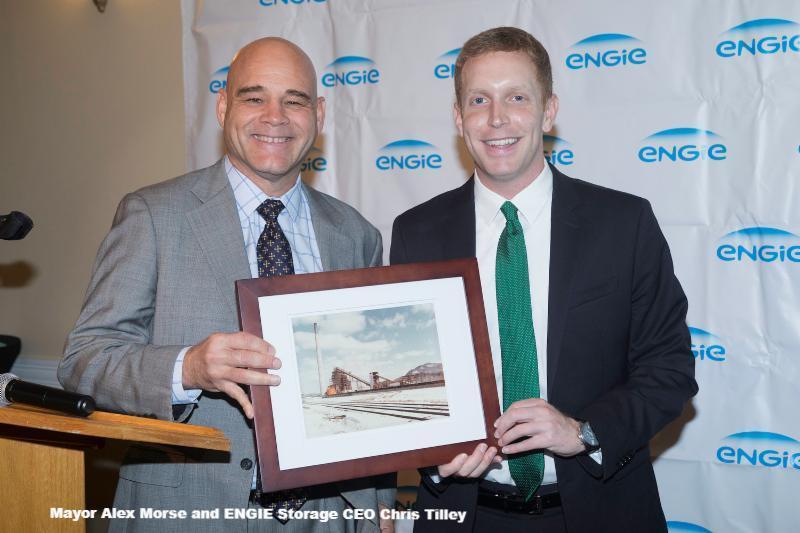 Mayor Alex Morse and ENGIE Storage CEO Chris Tilley