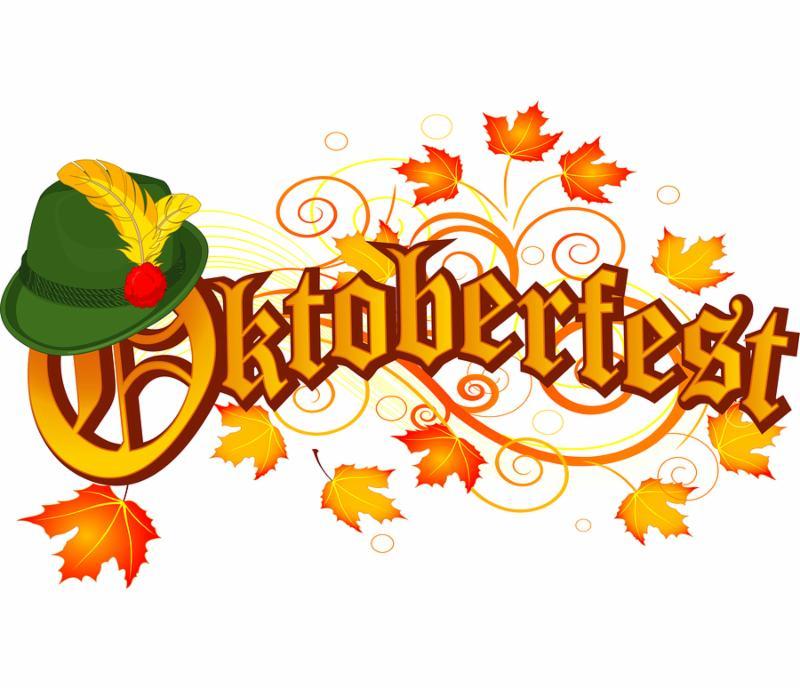 Oktoberfest celebration design with Bavarian hat and autumn leaves.