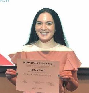 Jaclyn Wolf winning 2019 Achievement Award