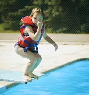 child jumping off diving board