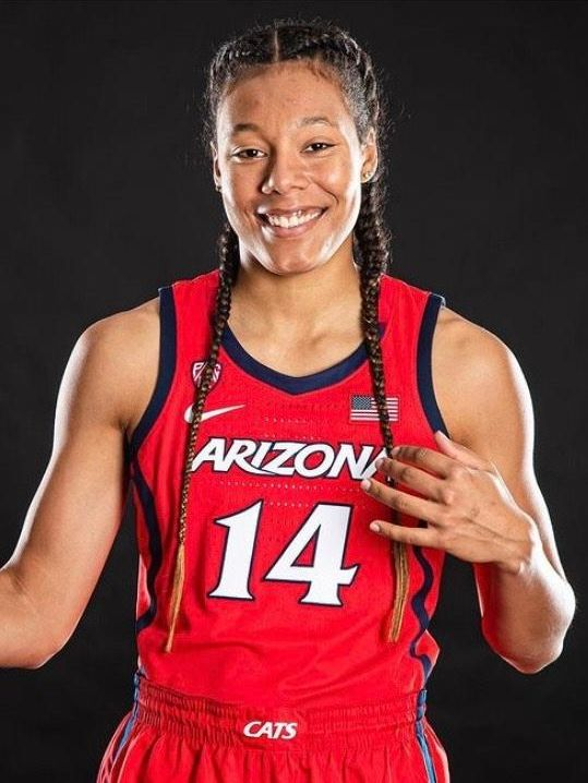 Sam Thomas in red UArizona basketball uniform with number 14 on jersey