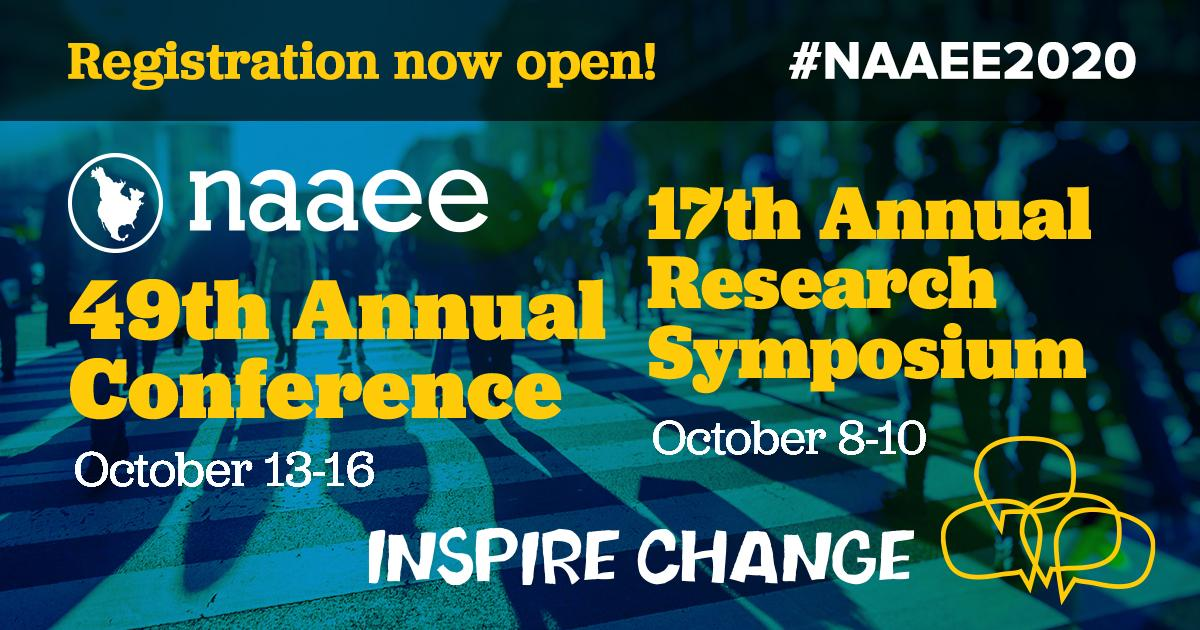 Flyer for the NAAEE conference. Photo has blue background with yellow font that says 49th Annual Conference and 17th Annual Research Symposium