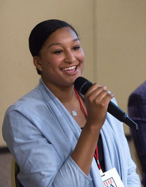 Photo of Alexis Dotson speaking on panel