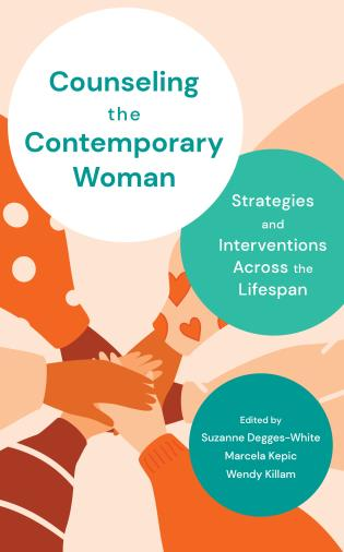 Cover of Counseling the Contemporary Woman book. Photo has peach background with six hands coming together at the center of the cover.