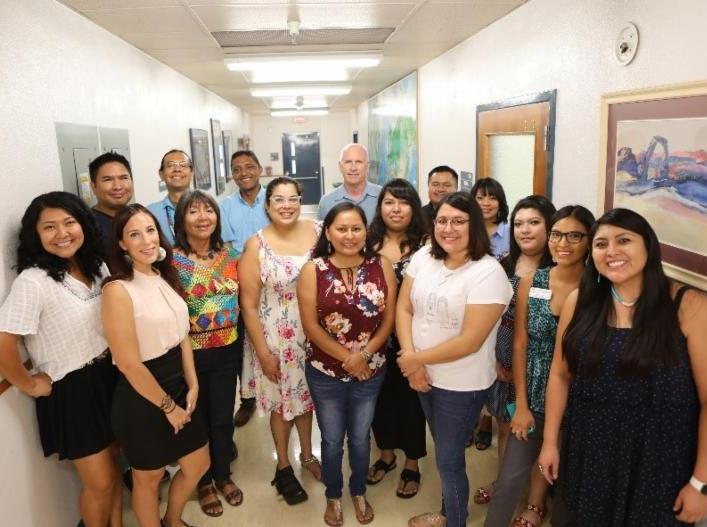 Indigenous Thinkers group of students gathered with COE Dean