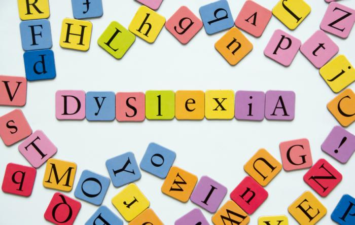 scattered letters to spell dyslexia