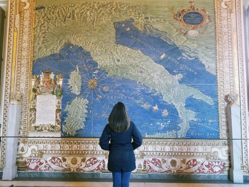 amanda agate looking at huge map