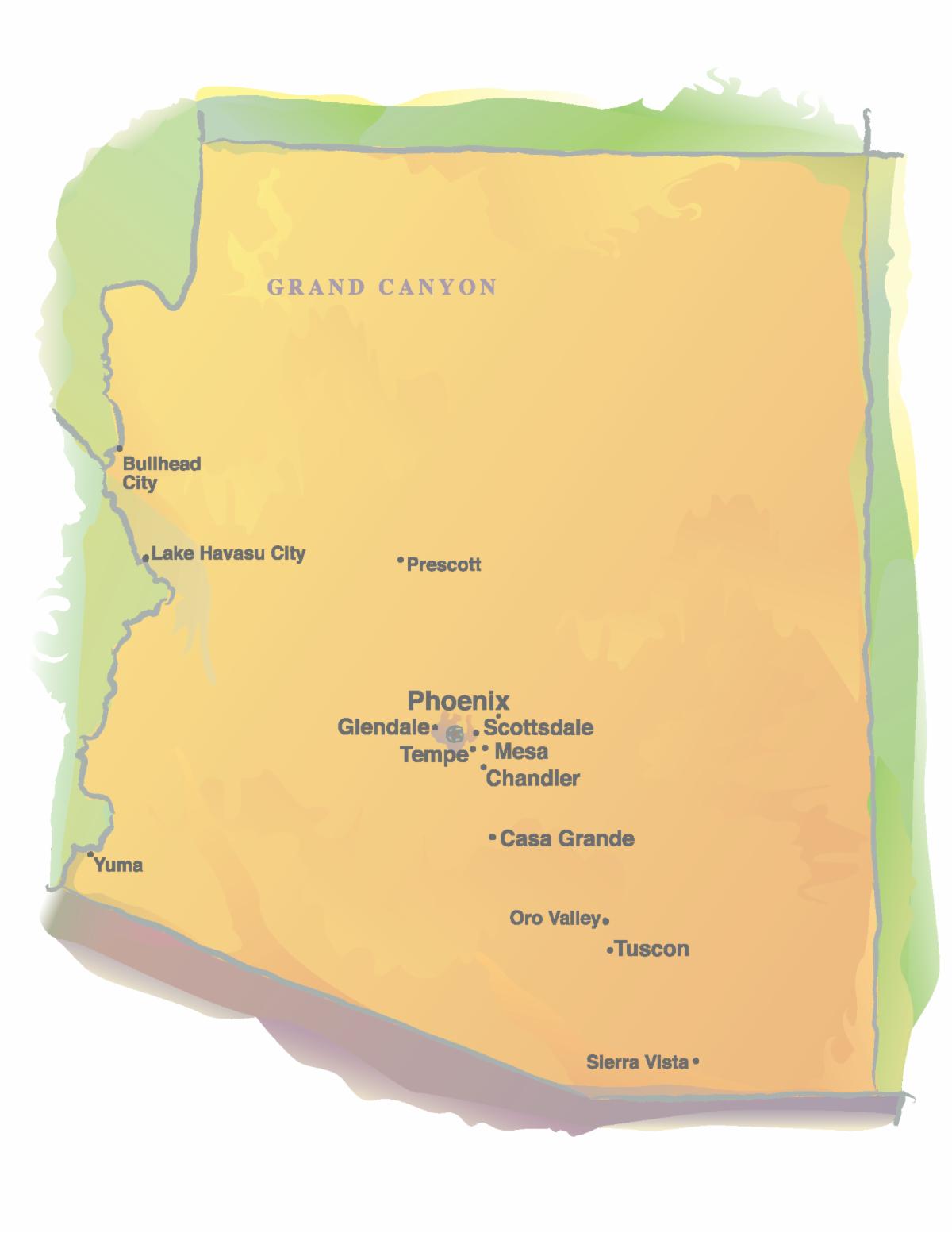 watercolor map of arizona