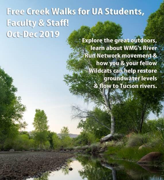 Free Creek Walks flyer - image of water in a creek