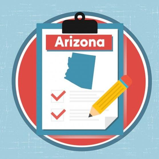 Illustration of clipboard with Arizona written at the top and an image of the outline of the state of Arizona with two checkmarks in bubbles