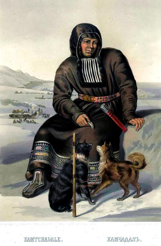 illustration of itelmen with two dogs