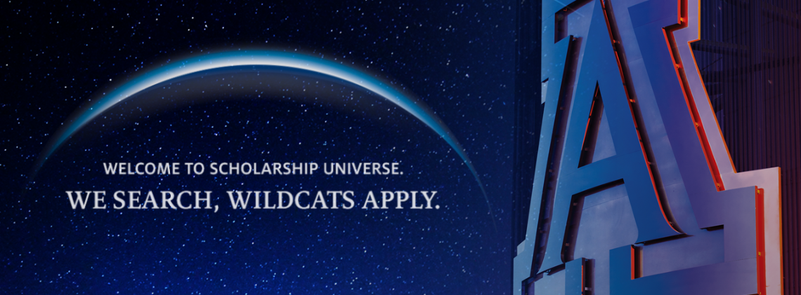 university block in front of dark sky with stars and text that reads welcome to scholarship universe we search wildcats apply