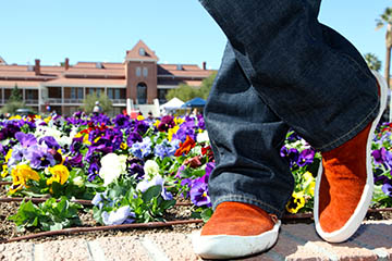moccasins in front of old main
