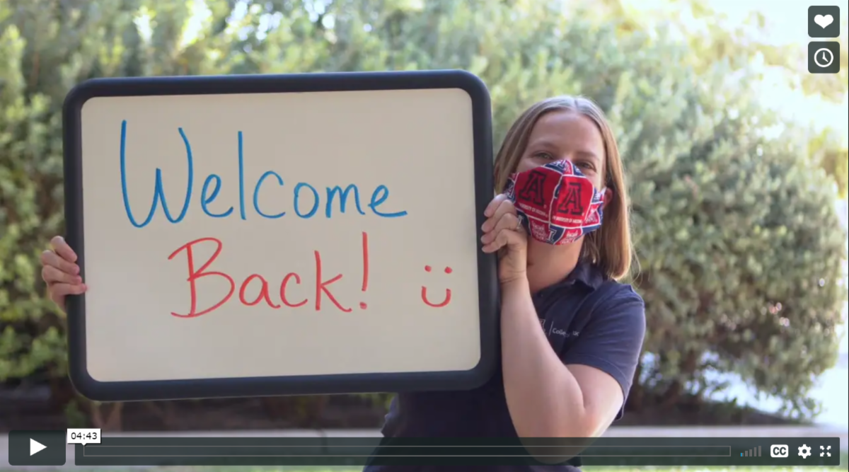 welcome back sign from video