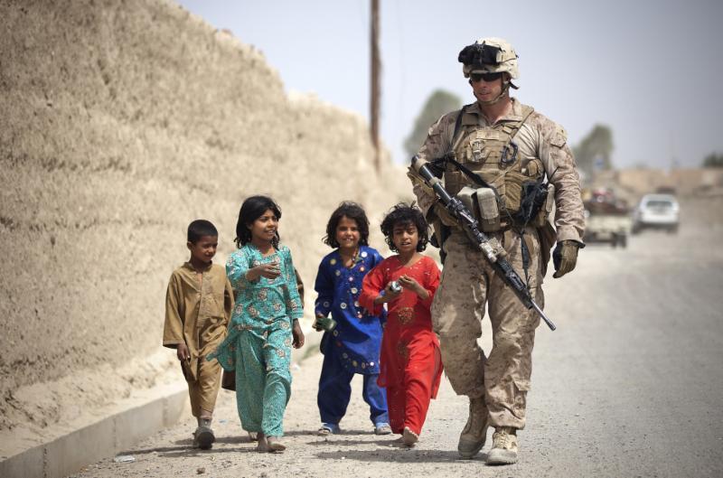 children following marine