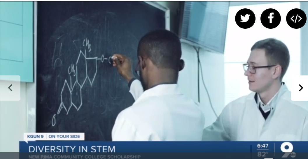 two students working on an equation at a chalkboard