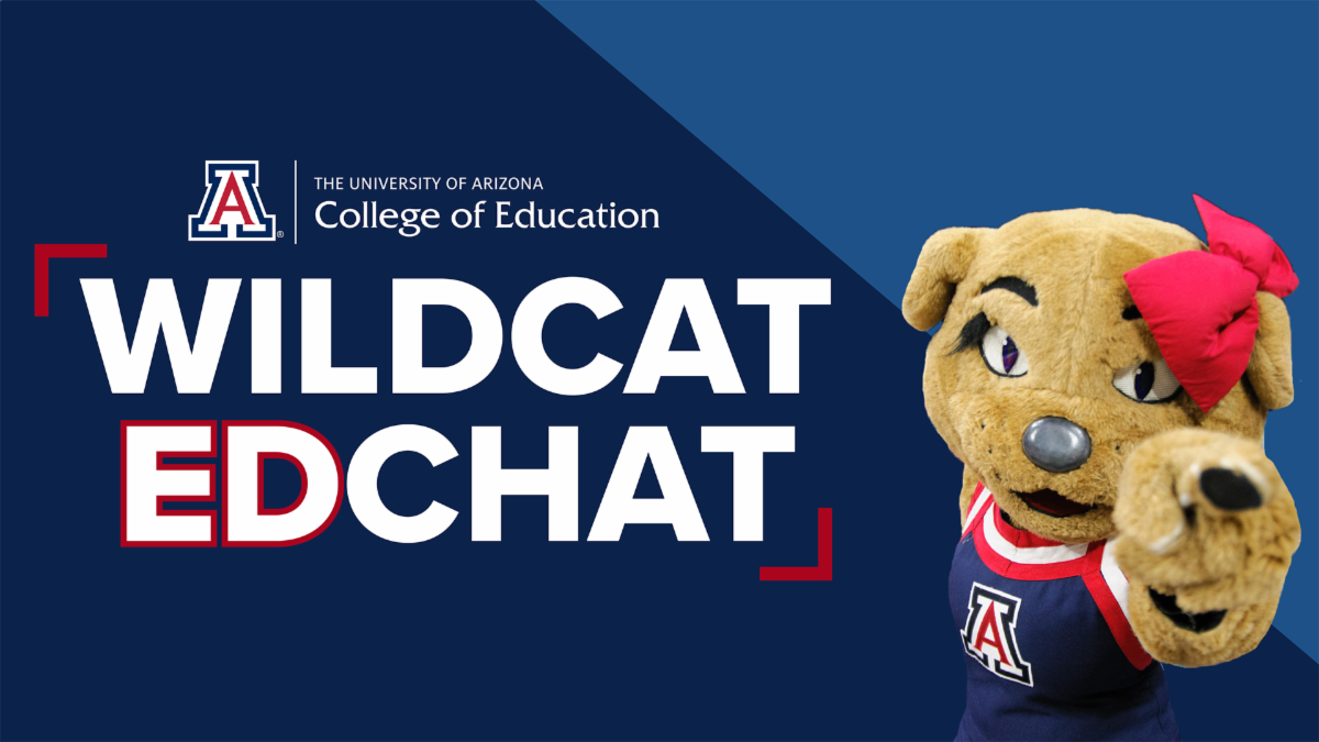 Wildcat EdChat written on dark blue background with Wilma mascot pointing at the viewer