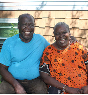 David and his wife, Lwiza, are all smiles outside Tri-City Haitian Ministries in Fargo, N.D.