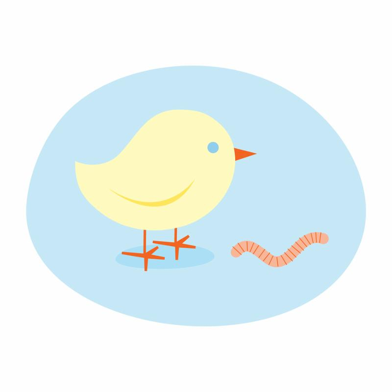 procrastination early bird catches the worm illustration