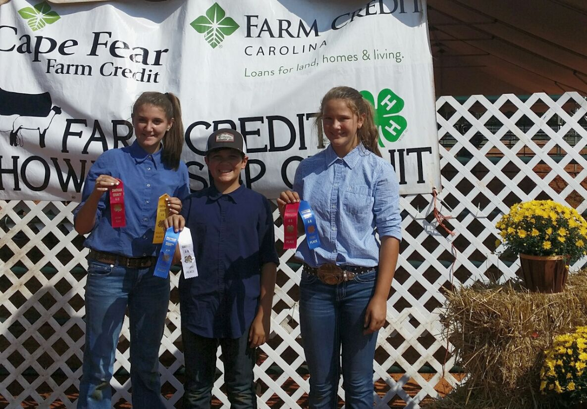 Moore County 4-H Participants with their livestock ribbons from the Chatham County Show.