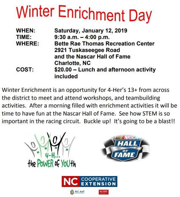 Save the Date - Winter Enrichment. Saturday January 12 2019 from 930AM to 4PM in Charlotte NC.