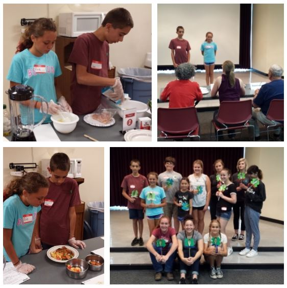 Collage of the Moore County Team who participated in the 4-H Cluster Cooking Challenge Competition.
