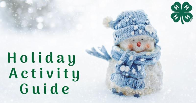 Card with a snowman with the text Holiday Activity Guide