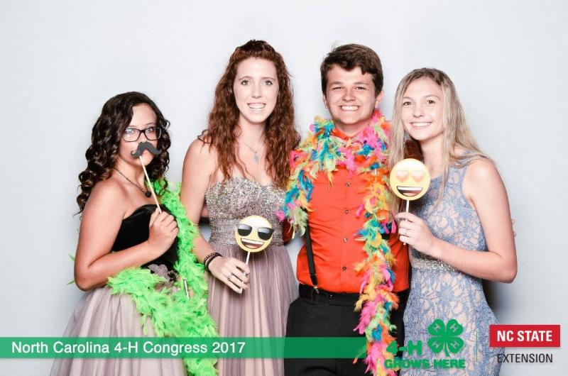 Photo booth picture of four teens who attended NC 4-H Congress 2017