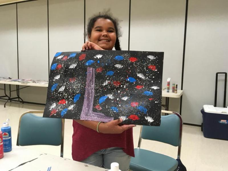 Camp participant sharing one of her vision boards
