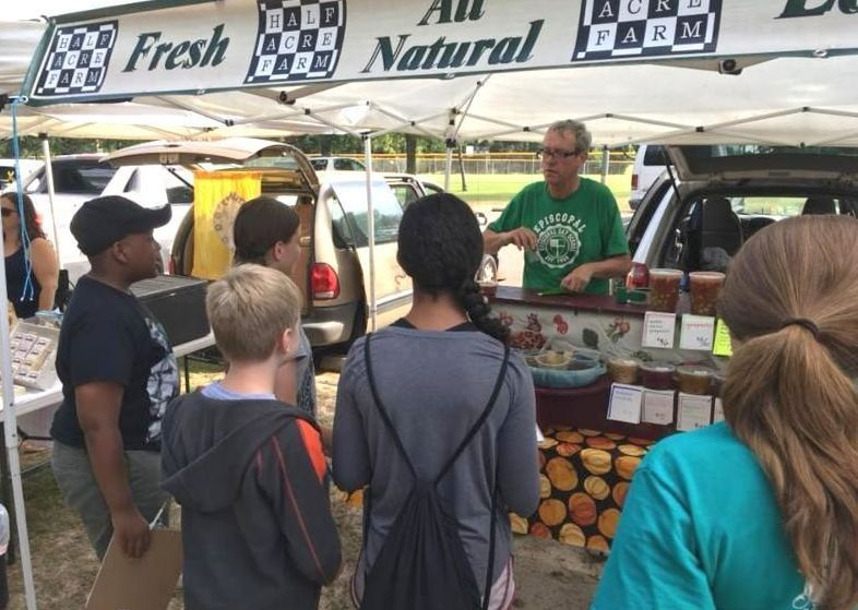 Camp participants at the Farmers Market