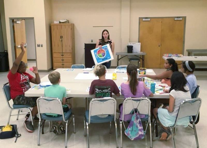 Camp participants learning about MyPlate