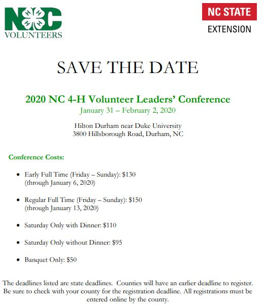 NC 4-H Volunteer Leaders' Conference Save the Date Flyer - January 31 through February 2nd 2020