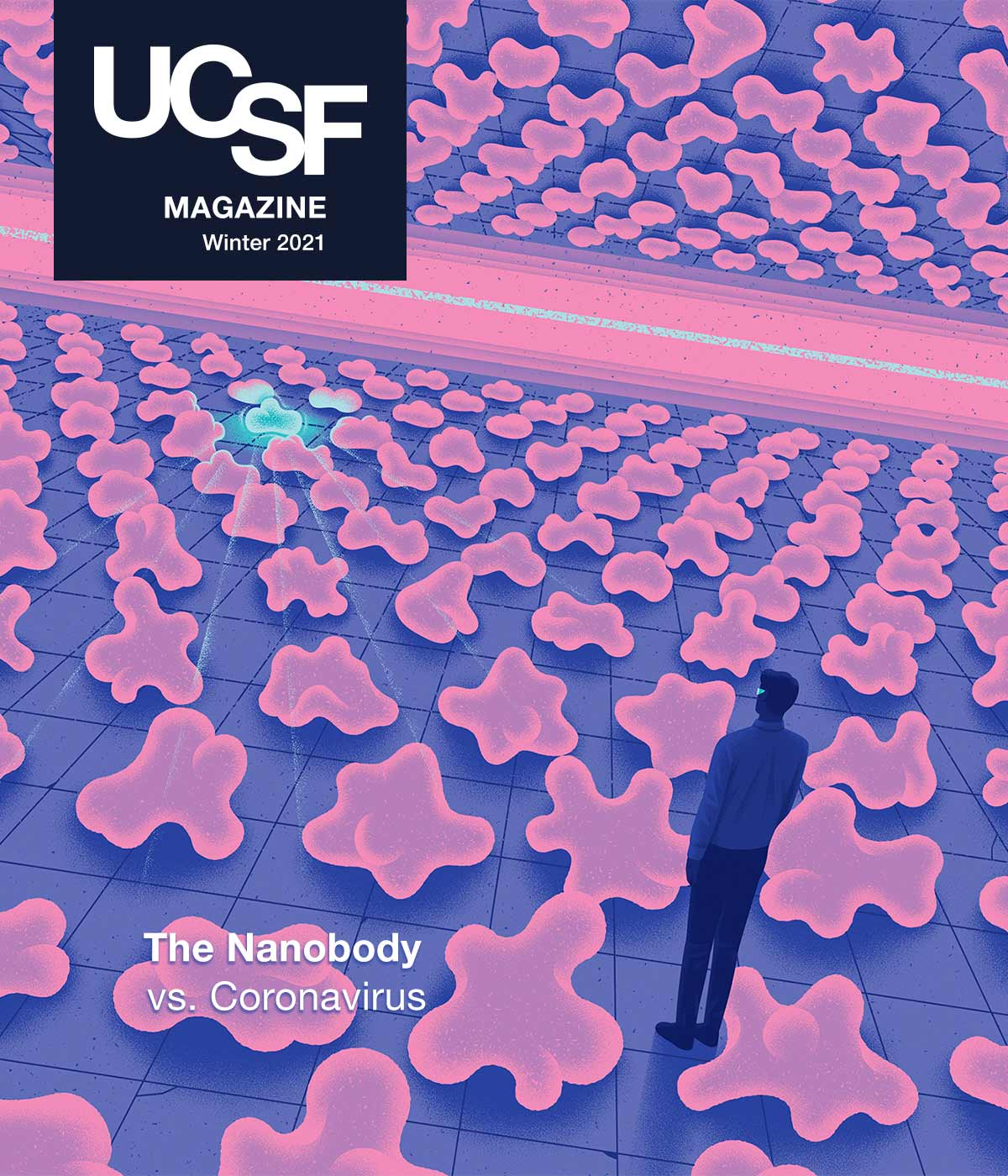 UCSF Magazine Winter Edition Cover showing a man standing in an endless landscape of germs with one highlighted as different