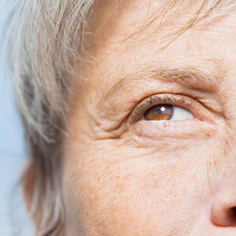 A closeup of an older woman's eye