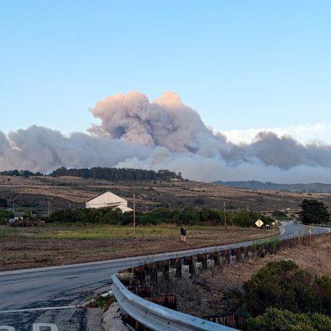 Wildfire smoke rising over the Santa Cruz mountains