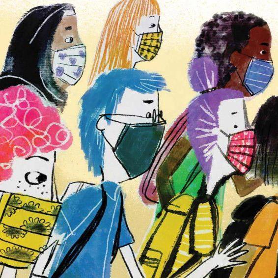 Illustration of children wearing colorful face masks and backpacks