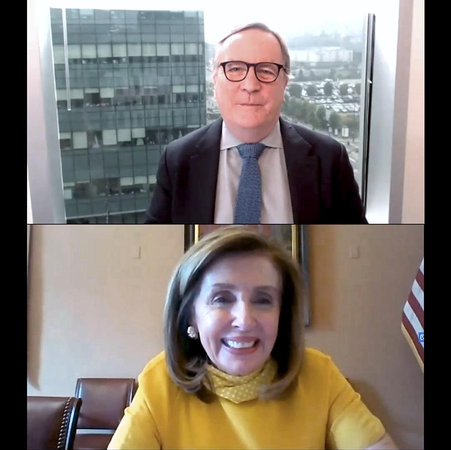 Sam Hawgood and Nancy Pelosi on a Zoom Call