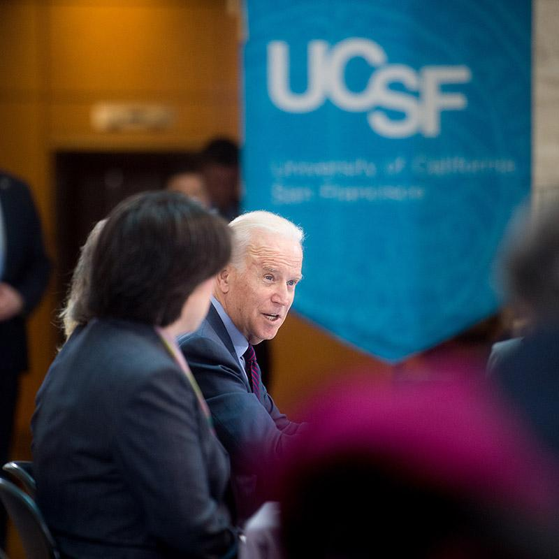Joe Biden speaking at the Cancer Moonshot Launch at UCSF
