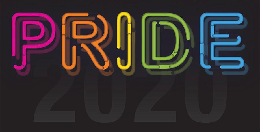 PRIDE 2020 in neon rainbow letters