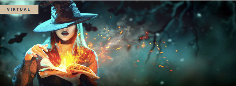 Witch burning a book with her fingers on a stormy night